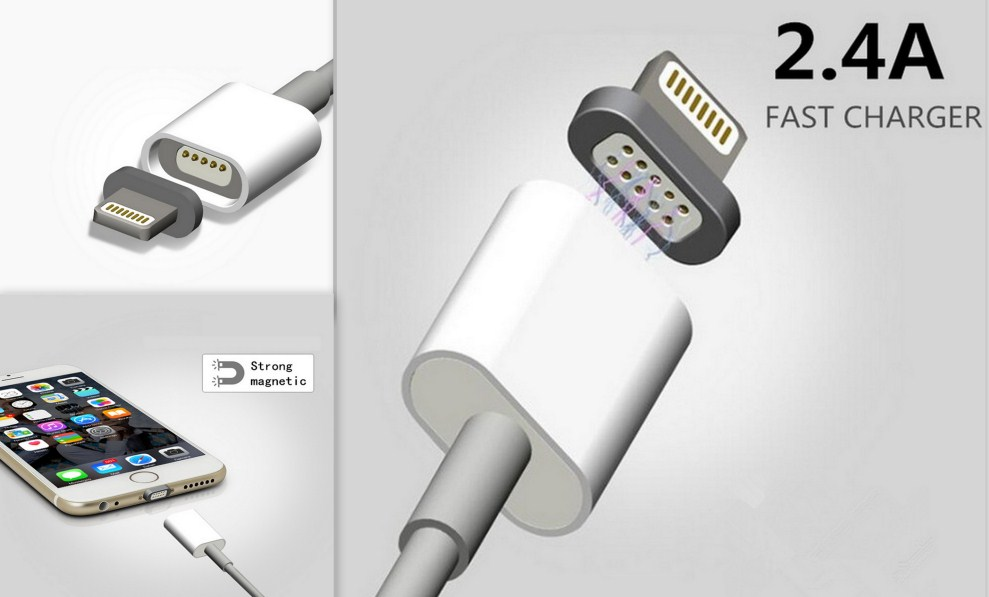 магнитен USB кабел за iPhone 5 5s 5c SE 6 6s 7 Plus iPad  2.4A (18.00лв) магнитен USB кабел за iPhone 5